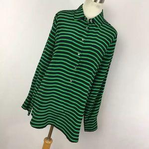 J Crew 8 Shirt Popover Button Front Silk Green